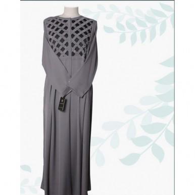 Grey Color Abaya with Black Checkered Neck Design