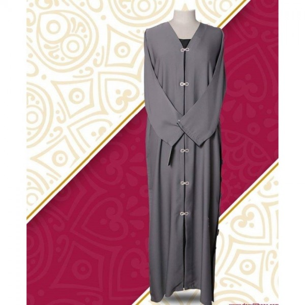 Grey Color Front Open Style Abaya