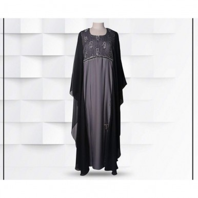 Black and Grey Color Butterfly Style Abaya