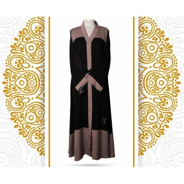 Classic Combination of Black and Coffee Color Abaya