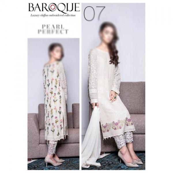 White Pearl Perfect Chiffon Dress for Women - Un-Stitched