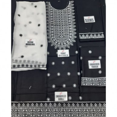 Black and White Embroidered Dress with Chiffon Dupatta