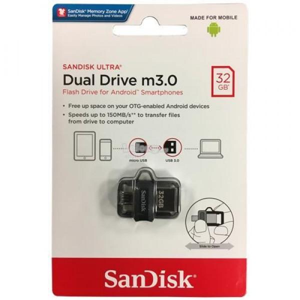 SanDisk Ultra Dual Micro M3.0 USB3.0 OTG Flash Drive 32GB