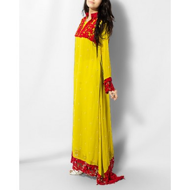 Elegant Dhani Maxi for Her in Chiffon with Embroidered Crochet Border in Red