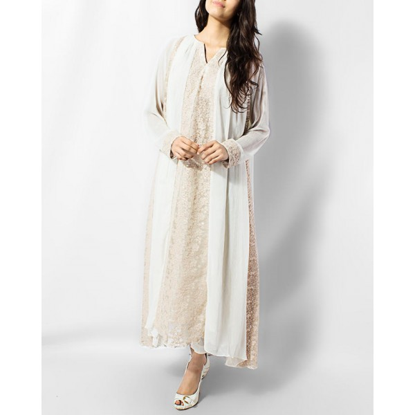 White and Fown Maxi with Sequence Touch Net