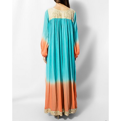 Peachy Sky Dress For Her - Fancy Double Shaded Fancy Gown