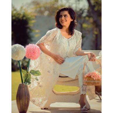 Floral White Net Cape Dress for Women