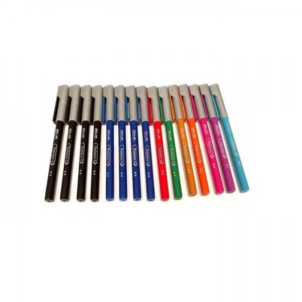 Dollar Pack of 15 - Pointer Plus Fiber Tip Pens 0.3