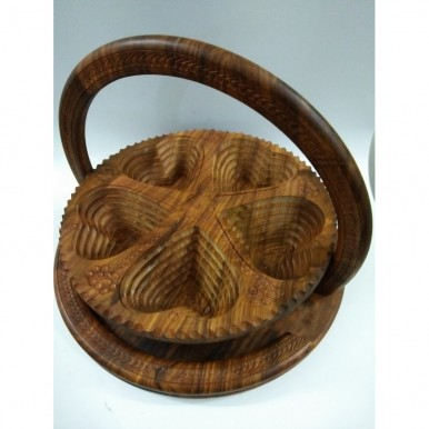 14 inches Large Wooden Dry Fruit Basket Antique Heart Shape 5 Portion 100 percent Original Collapsible Handicraft