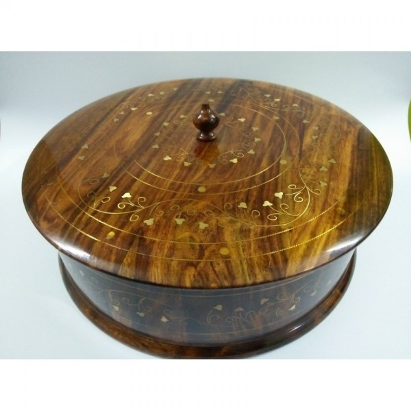 Antique Wooden Hot Pot With Copper Etching Hand Crafted Decorative - Large
