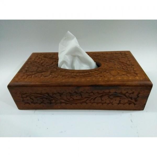 Handmade Wooden Tissue Box - Brown