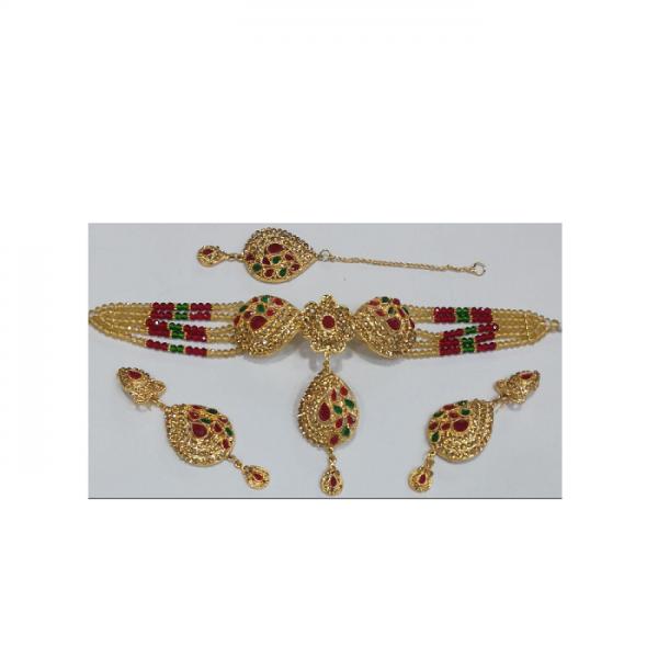 CHOKER SET GREEN and MAROON Beads