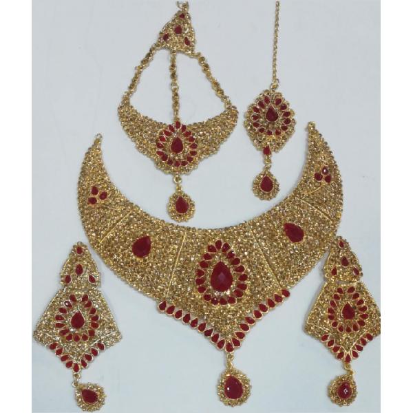 Lead Bridal Jewellery Set Maroon with Tika Jhoomer and Earrings