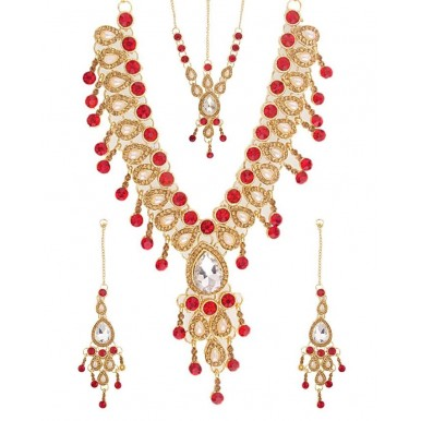Lead Jewellery Set Red with Tikka and Earrings