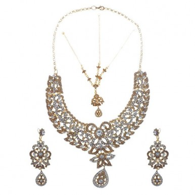 Lead Jewellery Set Champagne and Silver Stones for Her