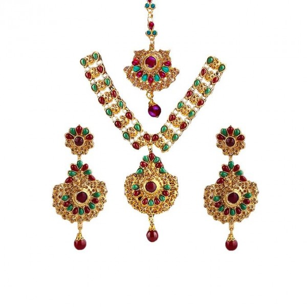Lead Necklace and Earrings Set with Green and Maroon Beads