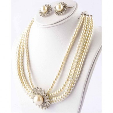 Pearl Jewellery Set Silver