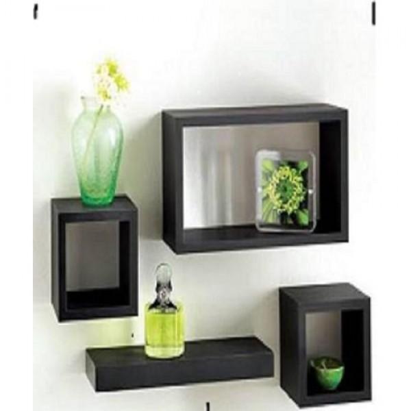 4 Piece Shelf and Wall Cubes Set