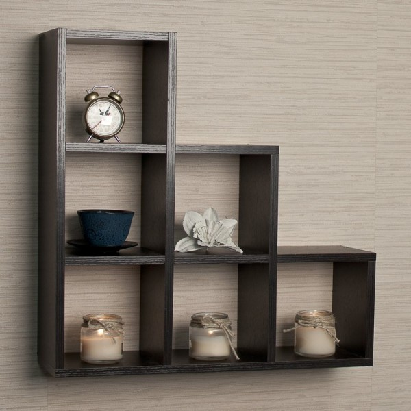 Stepped 6 Cubby Decorative Wall Shelf - Available in Beige and Brown Color