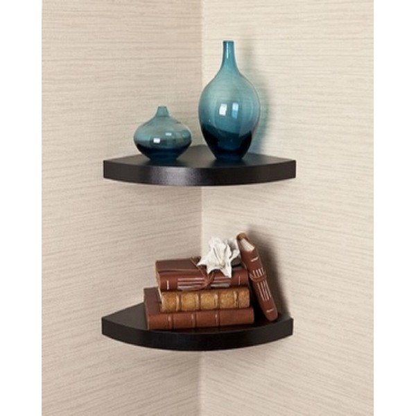 Set of 2 decorative Radial corner wall shelves