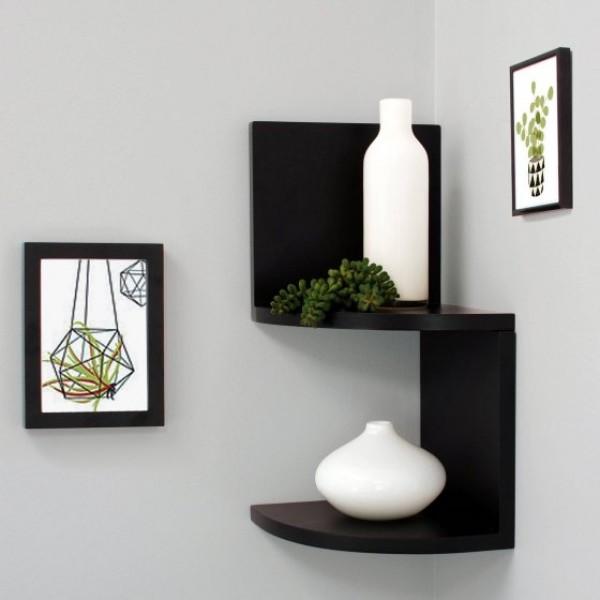 Corner Shelf in Black Color - Set of 2