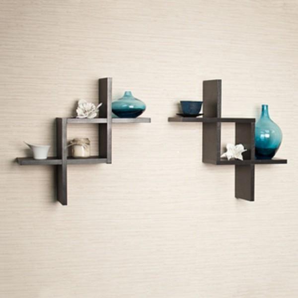 Set Of 2 Reversed Criss Cross Shelves