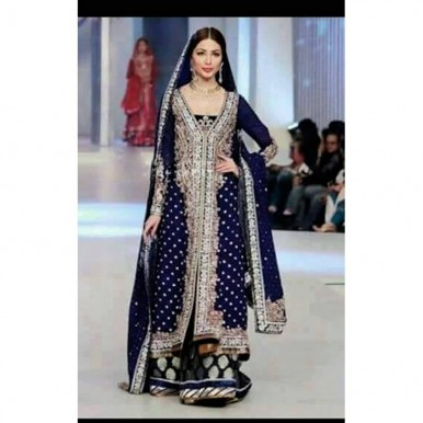 3 Piece Unstitched Chiffon Embroidered Dress with Jamawar Lower- RSS183