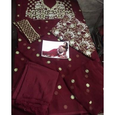 3 Piece Unstitched Chiffon Embroidered Dress - RSS31