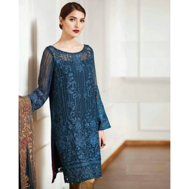 3Piece Unstitched Chiffon Embroidered Dress with Silk Trouser - SF-081