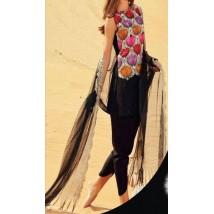 3Piece Unstitched Embroidered Chiffon Dress - SF-107