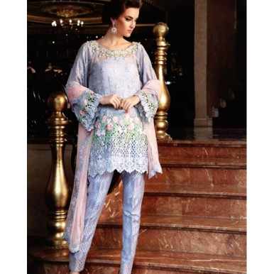 3 Piece Unstitched Elegant Blue Color Chiffion Embroidered Dress SF032