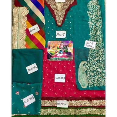 4 Piece Unstitched Chiffion Embroidered Mehndi Mayyo Dress SF034