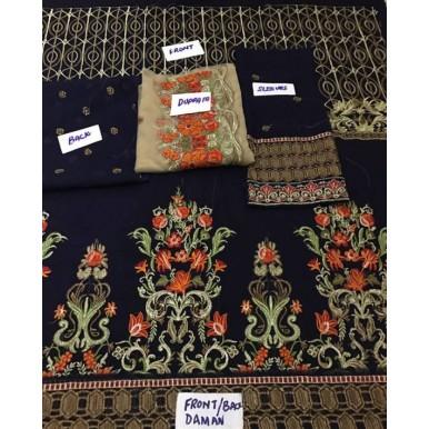 3 Piece Unstitched Chiffon Embroidered Dress - SF026