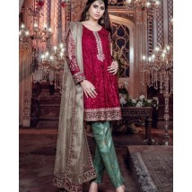 Unstitched 3 piece red and green Chiffon Collection collection