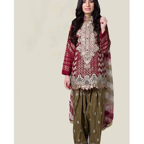 Beautiful traditional style EMbroidered Dress 3Piece Unstitched - ZHS-154
