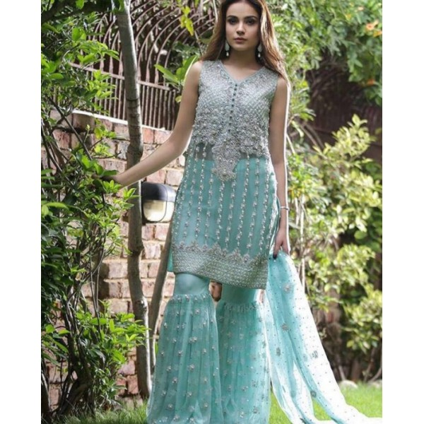3Piece Unstitched Beautifully embroidered chiffon dress for her ZHS-175