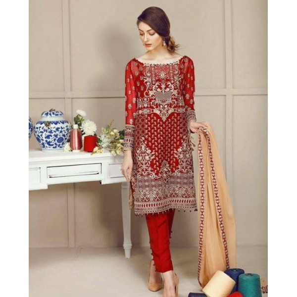 Beautiful Red Embroidered Dress for Her ZHS-188