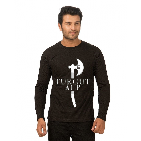 Black Full Sleeves TURGUT ALP Printed Cotton T shirt For Him
