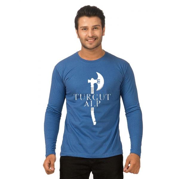 Royal Blue Full Sleeves TURGUT ALP Printed Cotton T shirt