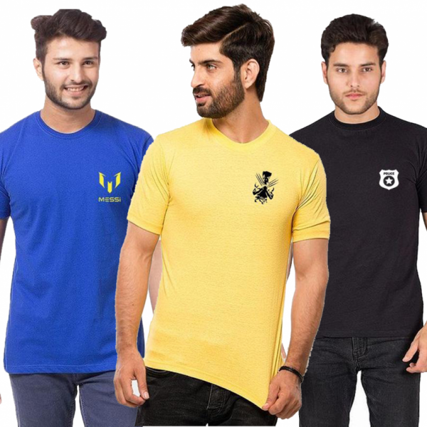 Pack of 03 Logo Printed Cotton T shirts For Him