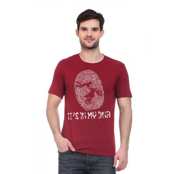 Maroon Round Neck Biker Graphics T shirt