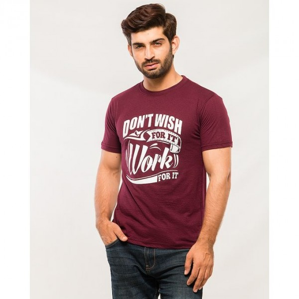 Maroon Dont Wish Graphics T shirt For Him