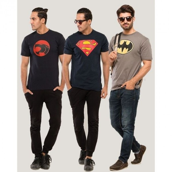 Pack of 03 Super Heroes T-Shirts For Him