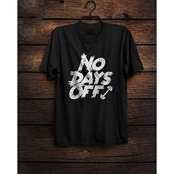 Black No Days Off Printed Cotton T shirt For Him