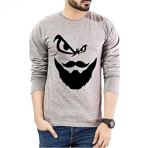 Heather Grey Angry Man Printed Cotton T shirt For Him
