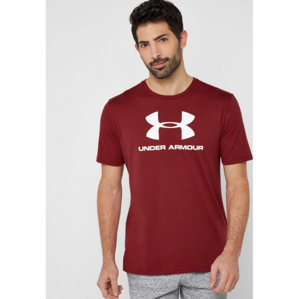 Maroon Under Armour Printed Cotton T shirt For Him