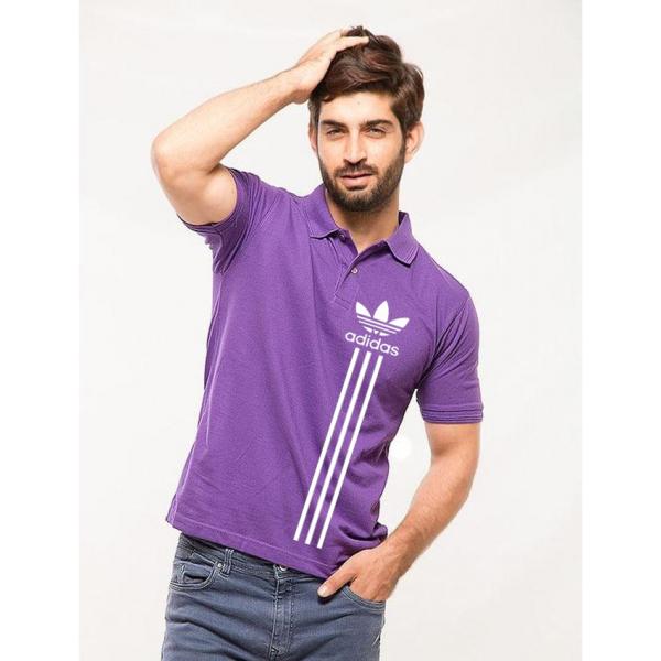 Purple Printed Polo Shirt For Him