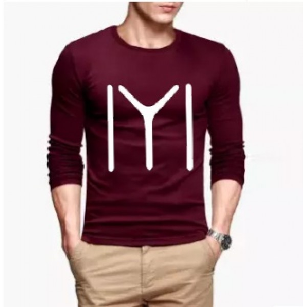 Maroon Full Sleeves Ertugrul Printed Cotton T shirt For Him