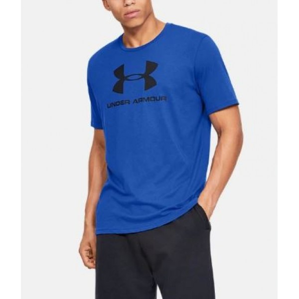 Royal Blue Under Armor Printed Cotton T shirt For Him