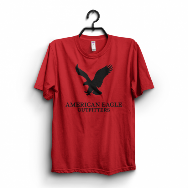 Red American Eagle Printed Cotton T shirt For Him